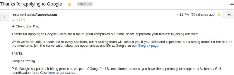 Thanks for applying to Google.